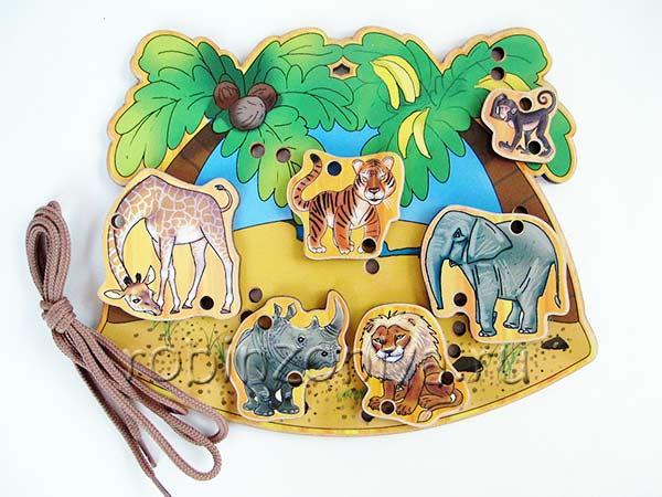 Развивающая игрушка деревянная шнуровка В Африке купить в интернет-магазине robinzoniya.ru.