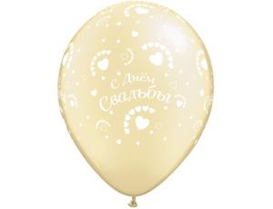 Воздушные шары на свадьбу Золотисто-белые 30 см