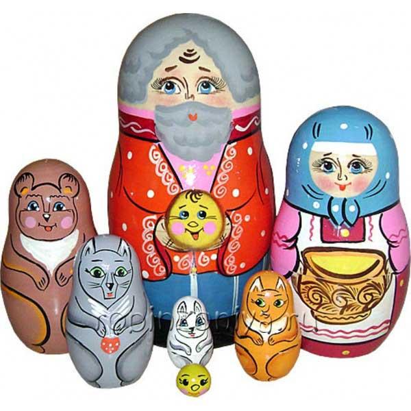 Матрешка колобок 7 персонажей купить в интернет-магазине robinzoniya.ru.