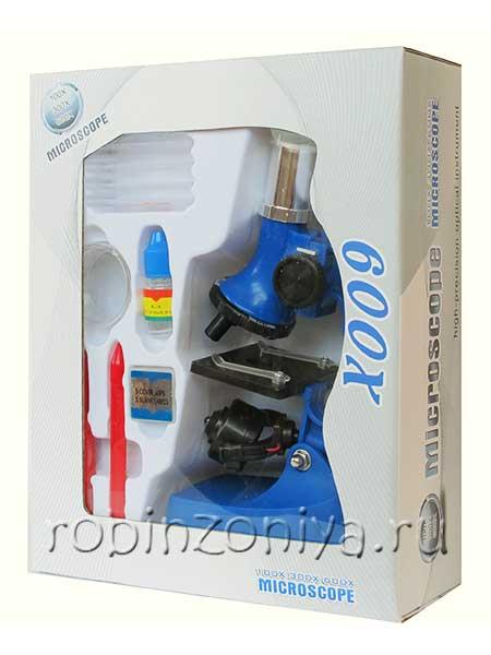 Недорогой детский микроскоп с подсветкой с увеличением до 100/300/600x купить можно тут с доставкой по России.