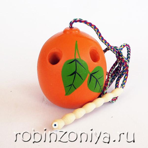 Развивающая игрушка деревянная шнуровка для детей Апельсин купить с доставкой по России в интернет-магазине robinzoniya.ru.