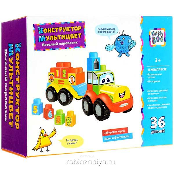 Конструктор Мультицвет Веселый паровозик от Kribly Boo купить в интернет-магазине robinzoniya.ru.