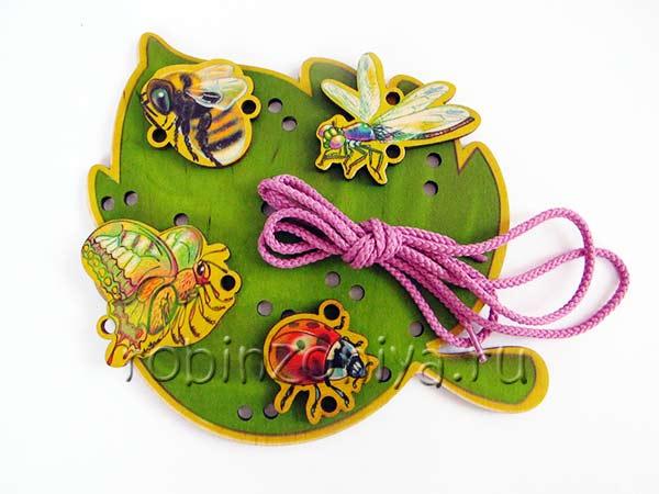 Развивающая игрушка деревянная шнуровка для детей Листочек купить в интернет-магазине robinzoniya.ru.