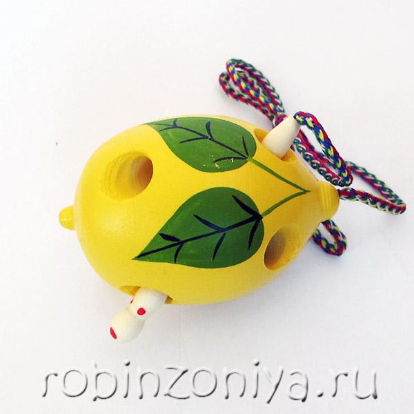 Развивающая игрушка деревянная шнуровка для детей Лимон купить с доставкой по России в интернет-магазине robinzoniya.ru.