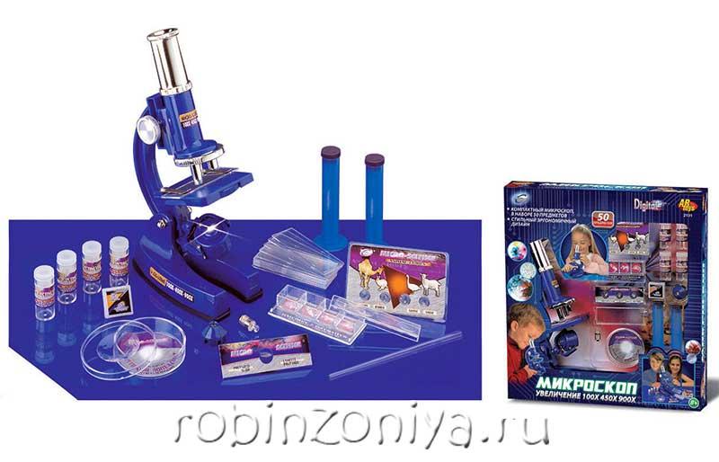 Детский микроскоп с увеличением 100х450×900 купить с доставкой по России в интернет-магазине robinzoniya.ru.