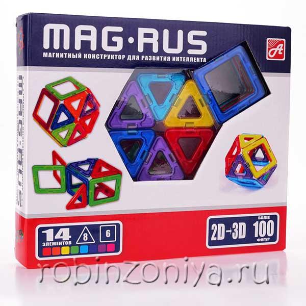 Магнитный конструктор Mag-rus 14 элементов купить с доставкой по России в интернет-магазине robinzoniya.ru.