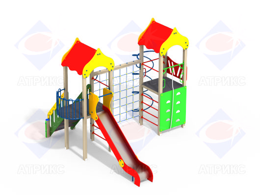 Детский игровой комплекс с горкой и альпинистской стенкой купить в интернет-магазине robinzoniya.ru.