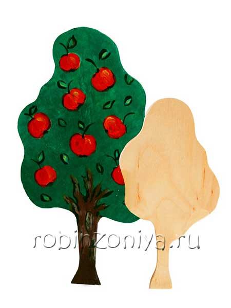 Деревянный набор для росписи Дерево большое и среднее купить в интернет-магазине robinzoniya.ru.