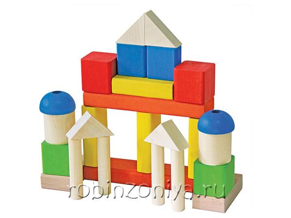 Деревянный конструктор Малыш с разноцветными деталями от Краснокамской игрушки купить с доставкой по России в интернет-магазине robinzoniya.ru.