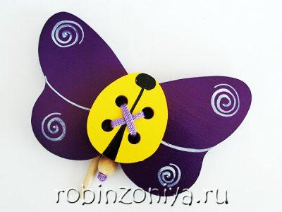 Шнуровка Бабочка деревянная