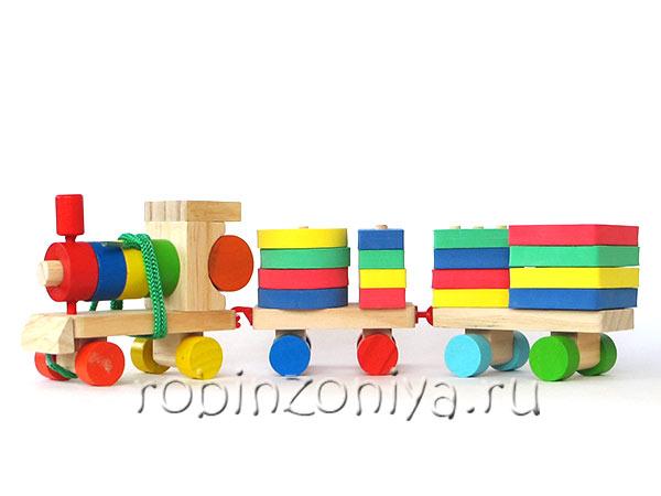 Паровозик деревянный с геометрическими фигурами купить с доставкой по России в интернет-магазине robinzoniya.ru.