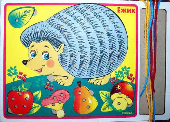 Деревянная шнуровка Ежик купить в интернет-магазине robinzoniya.ru.