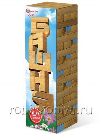 Падающая башня, 54 детали в картонной коробке (дженга)