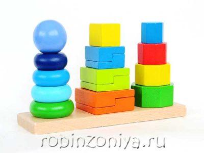 Геометрические пирамидки 3 в 1,Мир деревянной игрушки
