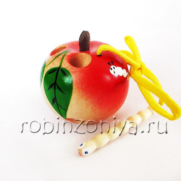 Шнуровка деревянная Яблоко с росписью малое купить с доставкой по России в интернет-магазине robinzoniya.ru.