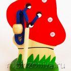 Шнуровка на подставке Мухомор с жучком