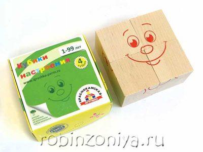 Кубики настроения, 4 штуки,Краснокамская игрушка
