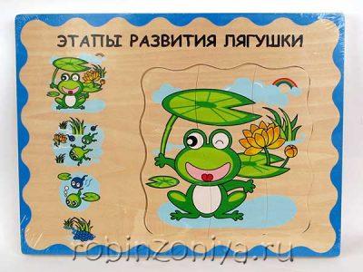 Лягушонок многослойный пазл Мир деревянной игрушки