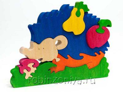 Деревянные пазлы Ежик с грушей