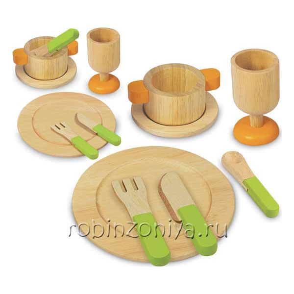 Набор игрушечной посуды из дерева купить в интернет-магазине robinzoniya.ru.