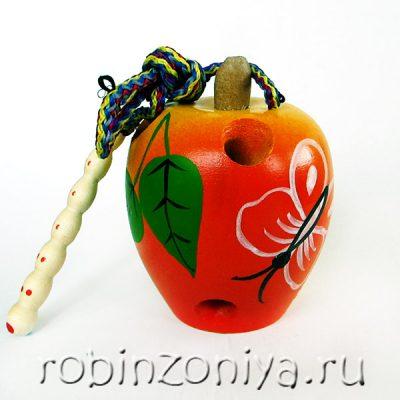 Шнуровка Яблоко крашеное с росписью