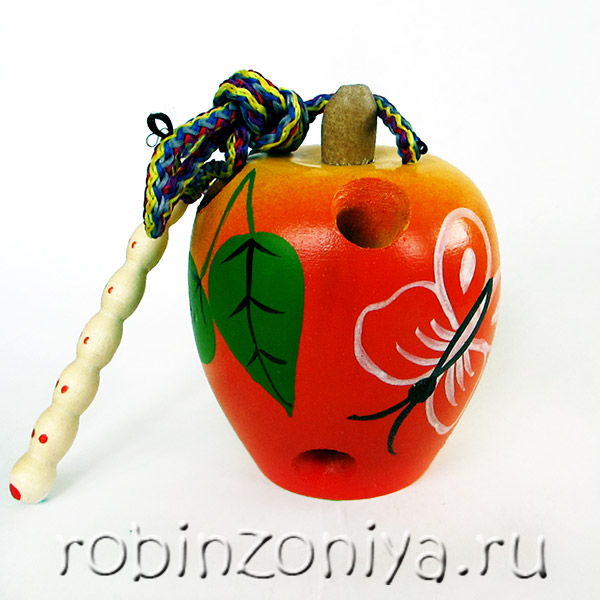 Шнуровка деревянная Яблоко с росписью купить с доставкой по России в интернет-магазине robinzoniya.ru.