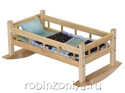 Кровать для кукол качалка с бельем №9 (дерево)
