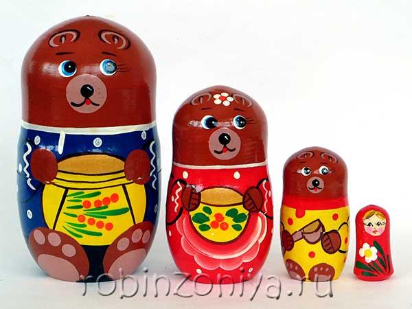 Матрешка по сказке Три медведя купить с доставкой по России в интернет-магазине robinzoniya.ru.