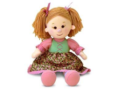 Мягкая поющая кукла Катюша в платье с розочками, Lava Toys