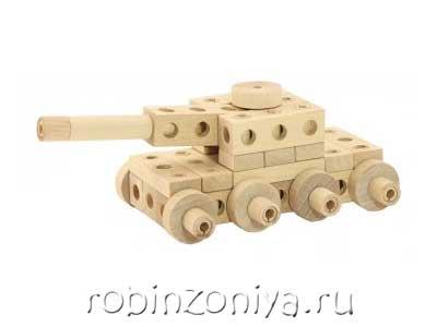 Деревянный конструктор Танк купить в интернет-магазине robinzoniya.ru.