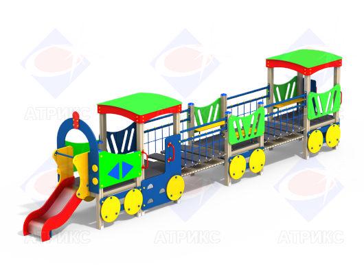Паровоз с вагонами МФ 4.042 для детской площадки купить в Воронеже в интернет-магазине robinzoniya.ru.