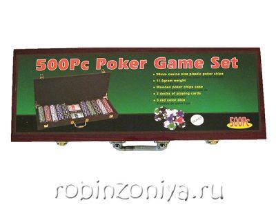Набор для покера Wood 500 фишек (деревянный кейс)