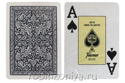 Пластиковые карты для покера Fournier Blue, увеличенный индекс