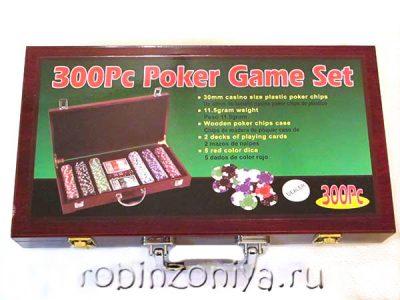 Набор для покера Wood, 300 фишек (деревянный кейс)