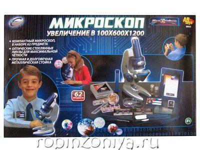 Микроскоп с подсветкой с увеличением до 100/600/1200x, арт.8802пц