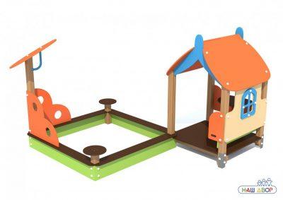 Игровой модуль Песочница с домиком Вальдика V-5306