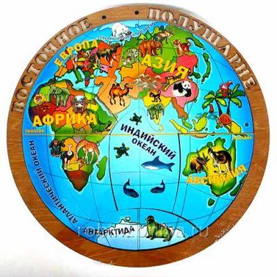 Деревянный пазл Магнитная карта полушарий