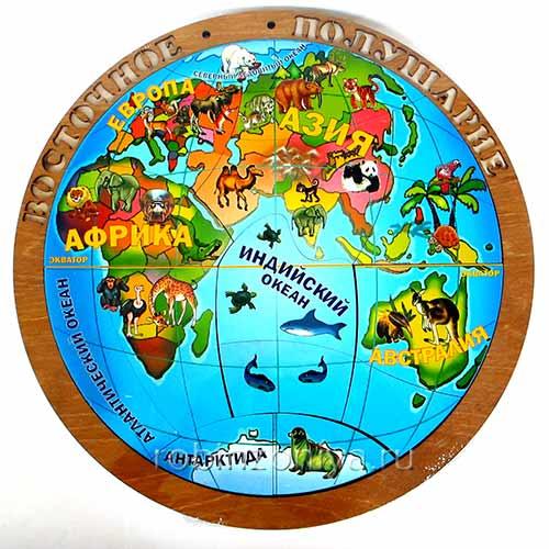 Деревянный пазл Магнитная карта полушарий купить на robinzoniya.ru.