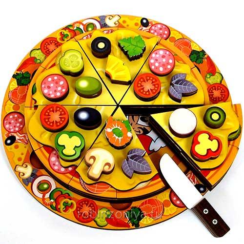 Многослойный пазл из дерева Пицца купить в интернет-магазине robinzoniya.ru.