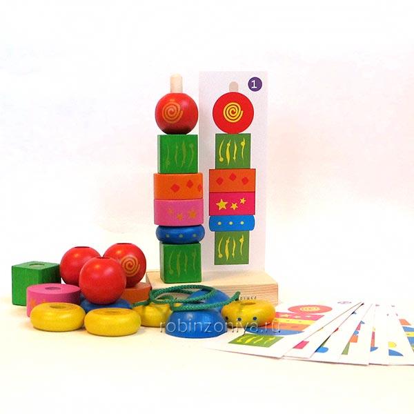 Пирамидка Геометрия от Краснокамской игрушки купить в интернет-магазине Робинзония.