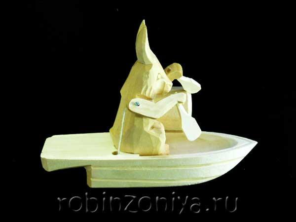 Богородская игрушка под роспись Заяц в лодке купить в интернет-магазине robinzoniya.ru.