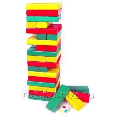 Цветная башня с кубиком, 54 детали в картонной коробке (дженга, падающая башня)