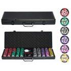 Набор для покера Black Stars 500 черный кейс, фишки с номиналом 14г, карты 100% пластик