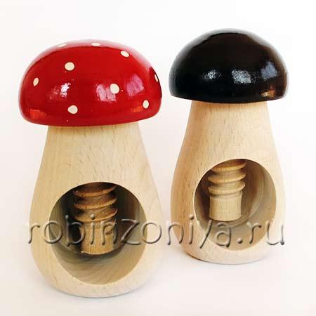 Развивающая деревянная игрушка для мелкой моторики Гриб винт купить в интернет-магазине robinzoniya.ru.