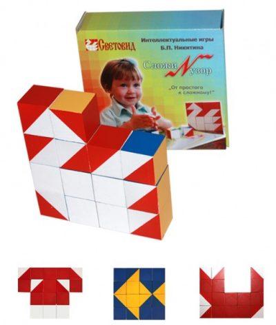 Кубики Сложи узор деревянные (картонная коробка)