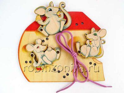 Шнуровка деревянная Мышки