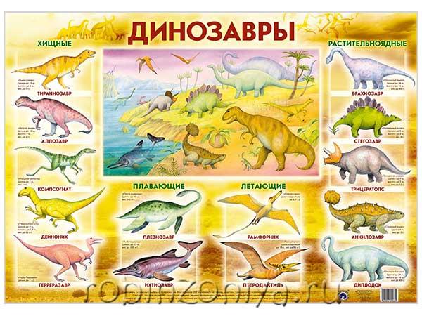 Плакат Динозавры купить с доставкой по России в интернет-магазине robinzoniya.ru.