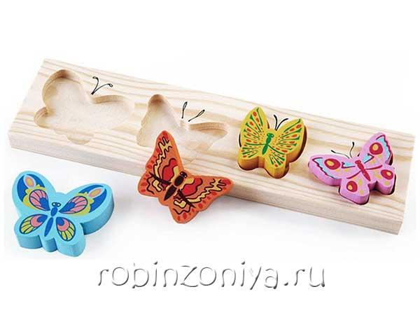 Рамка с вкладышами Бабочки от Томик купить с доставкой по России в интернет-магазине robinzoniya.ru.