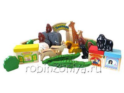 Томик деревянный конструктор Зоопарк