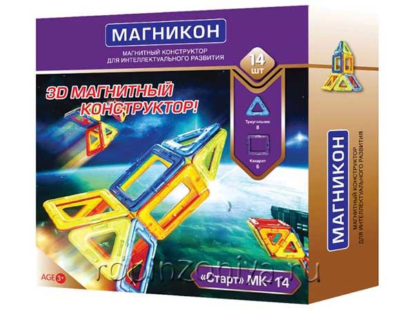 Магнитный конструктор Магникон 14 элементов купить с доставкой по России в интернет-магазине robinzoniya.ru.